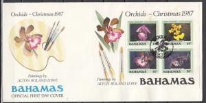Bahamas, Scott cat. 639a. Xmas s/sheet. Orchids in design. First day cover. ^