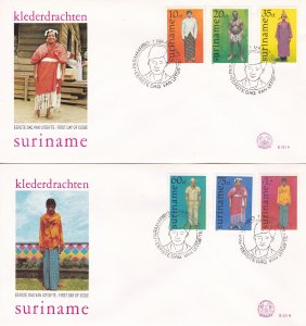 Suriname #  489-494, Regional Costumes on 2 First Day Covers