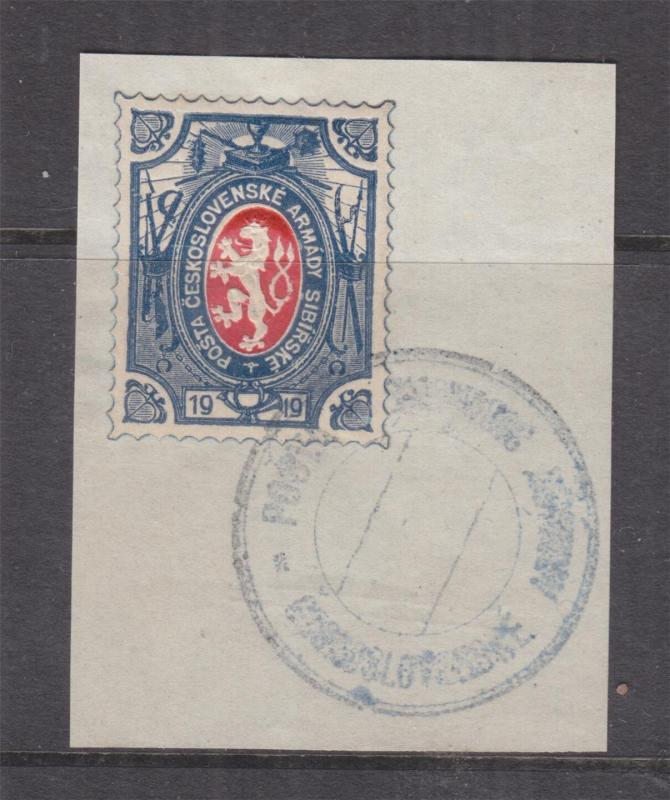 CZECH ARMY in SIBERIA, 1919 25k. Red & Blue, cancelled on piece.