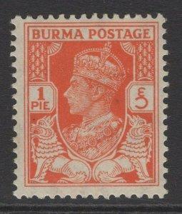 BURMA SG18b 1940 1p RED-ORANGE MTD MINT