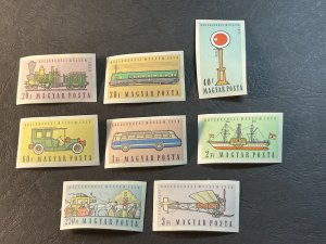 HUNGARY # 1224-1230 & C201-MINT NEVER/HINGED-COMPLETE SET-IMPERF AS ISSUED-1959