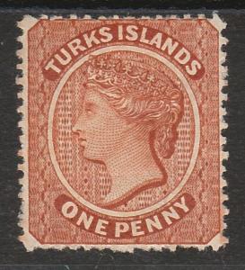 TURKS ISLANDS 1881 QV 1D WMK CROWN CC SIDEWAYS