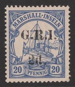 NEW GUINEA - GRI 1914 'GRI 2d' 5mm on Marshalls Yacht 20pf. MNH **.