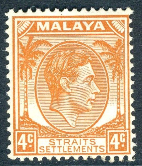 STRAITS SETTLEMENTS-1938 4c Orange Die II Sg 296 LIGHTLY MOUNTED MINT V18744