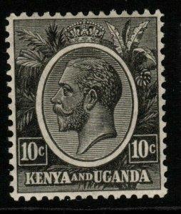 KENYA, UGANDA & TANGANYIKA SG80 1927 10c BLACK MTD MINT