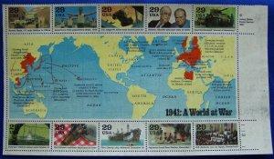 1941: A World at War Souv Sht-10 Scott 2559a-j 13 AUG 1991 29c MNH-No Gum