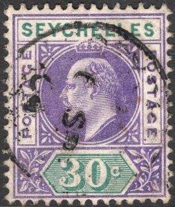 SEYCHELLES-1903 30c Violet & Dull Green Sg 52 GOOD USED V50069