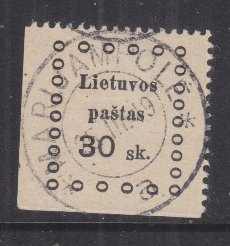 LITHUANIA, 1919 2nd. Kaunas, 30s. Black, used.