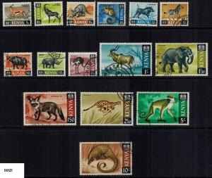 Kenya 1966-69 Wild Animals Fine Used Sc. 20-34 15v