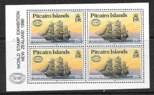 PITCAIRN ISLANDS SG369a 1990 20c BOOKLET PANE O/P NEW ZEALAND 90 MNH