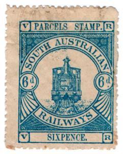 (I.B) Australia - South Australia Railways : Parcels Stamp 6d