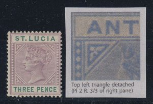 St. Lucia, SG 40a, MHR Top Left Triangle Detached variety