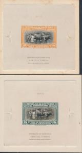 COSTA RICA #188E (2) DIFF LRG DIE ESSAYS ON INDIA, SUNK ON CARD BR2657 HSFP