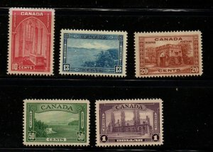 Canada Sc 241-45 1938 Higher values stamp set mint
