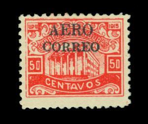 HONDURAS 1925  AIRMAIL overprinted 50c red - Blk overprint - Scott # C8 mint MH