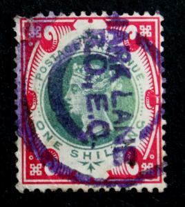 Great Britain Stamp Scott #126 Used 1sh Queen Victoria 1900 FAULT at UL Corner