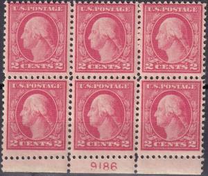US #499  MNH Plate Block  CV $35.00 (A19939)