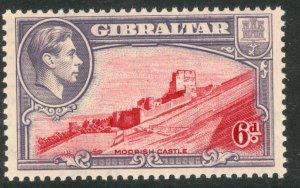 GIBRALTAR 1938-51 KGVI 6d Perf.13 1942 Printing  SG No 126b / Sc 113  MNH