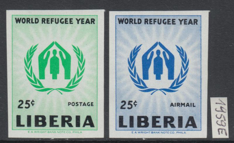 XG-Y532 LIBERIA - Set, 1959 World Refugee Year, 2 Values Imperf. MNH