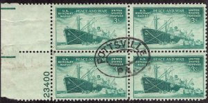 939 Used... Block of 4 w/Plate#... SCV $1.00