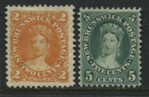 New Brunswick 1860 2 and 5 cents unused no gum