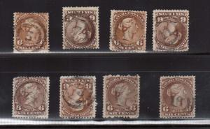 Canada #27 #27a #27vi Eight Used Examples With 2 Ring Numerals