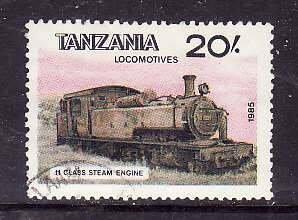 Tanzania-Sc#289b- id5-used 20sh from the sheet- Trains-Locomotives-1985-