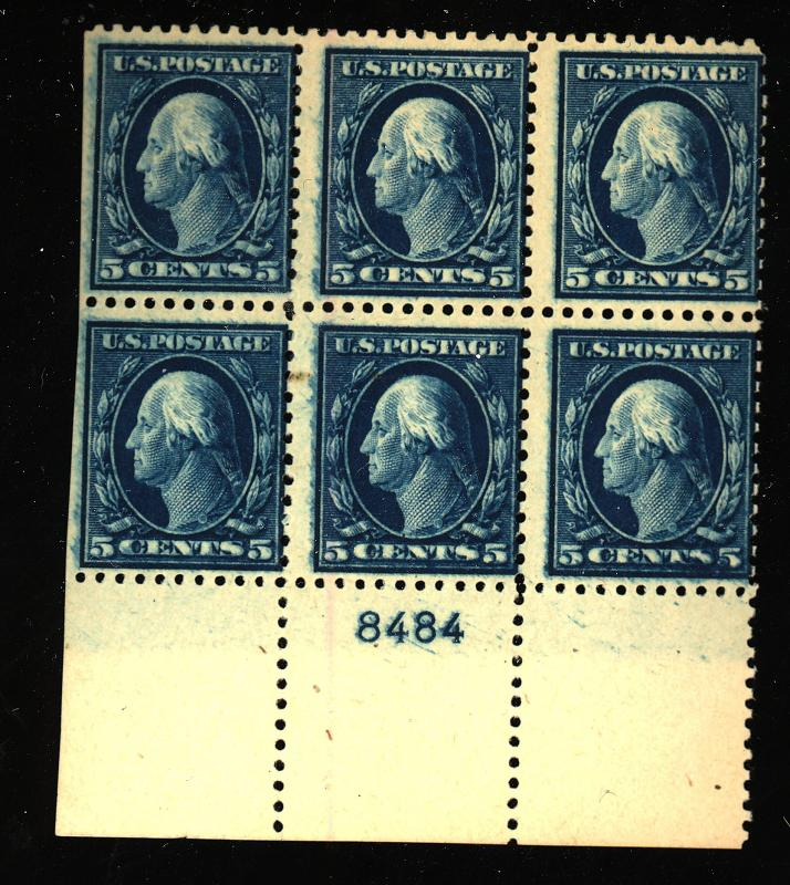 504 MINT Plate Block Fine Overinked Looks like Double impression OG LH 5 stps...