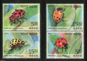India 2017 Ladybird Beetle Insect Animals Wildlife Fauna Se-Tenant MNH # B