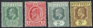 GOLD COAST 1907 KEVII 1/2D 1D 2D AND 3D