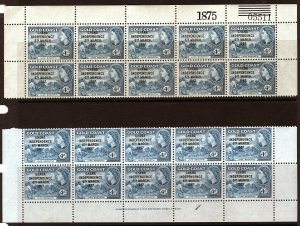 Ghana 1957 Independence Overprint 4d Top Control # + Bottom Plate # Blocks of 10