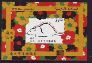Norfolk Island Sc 601a 1996 Year of the Rat sheet mint NH