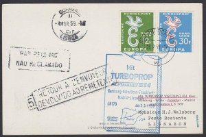 GERMANY 1959 Postcard first flight to Lisbon Portugal - unclaimed marks.....F984