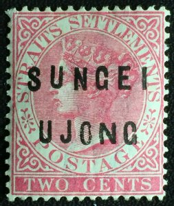 MALAYA 1884 SUNGEI UJONG opt Straits Settlements QV 2c MLH SG#21 M2452