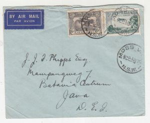 AUSTRALIA, 1935 Airmail cover, Moss Vale, NSW to Neth. East Indies, 3d.. & 6d.