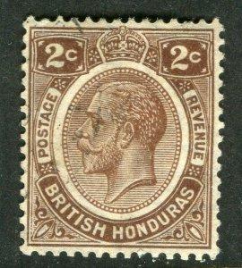 BRITISH HONDURAS; 1922 early GV issue fine Mint hinged Shade of 2c. value