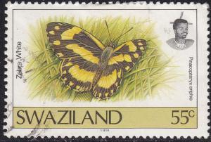 Swaziland 609 Zebra White Butterfly 1992