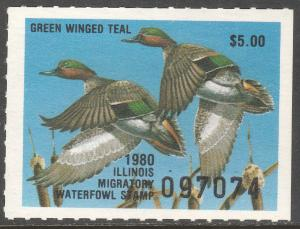 U.S.-ILLINOIS 6, STATE DUCK HUNTING PERMIT STAMP. MINT, NH. VF