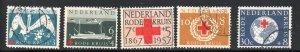 Netherlands Sc B311-15 1957 Red Cross Anniversary stamp set used