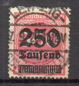Germany 1923 Early Issue Fine Used 250T. Surcharged NW-96494