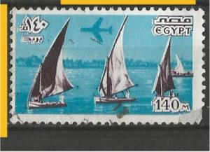 EGYPT, 1978, used 140m, Plane over boats on Nile. C173