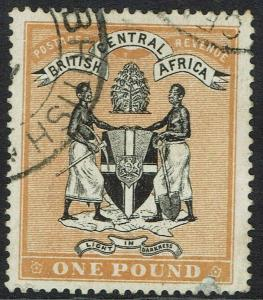 BRITISH CENTRAL AFRICA 1895 ARMS 1 POUND FISCAL USED