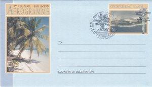 Cocos Islands Three Aerogrammes, Unused, First Day Cancels
