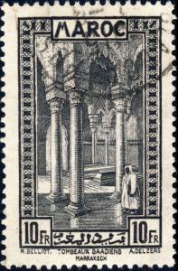 MAROC - 1933 - Yv.148 / Mi.115 10fr noir Tombeaux Saadiens (Marrakech) Oblitéré