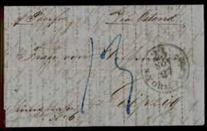 USA 1862 Civil War Aachen Leipzig Germany Transatlantic Stampless Vorphila 77445