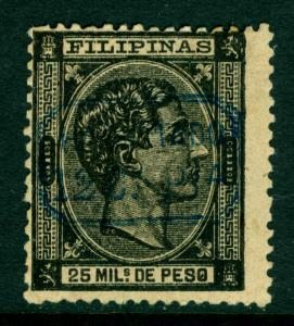 Spanish PHILIPPINES 1879 King ALFONSO XII  12c/25m blk - BLUE SURCHARGE Sc#61 MH