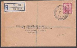NEW ZEALAND TE PUKE G class cds on registered cover 1951....................B763
