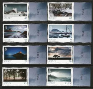Jersey 2016 MNH Seasons Winter 8v Set Lighthouses Trees Boats Nature Stamps