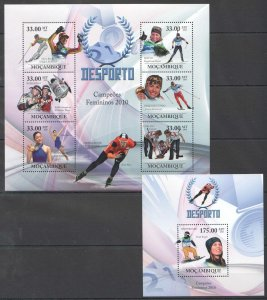 BC1337 2010 MOZAMBIQUE SPORT OLYMPIC GAMES 2010 WOMEN CHAMPIONS 1KB+1BL MNH