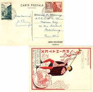 Monaco 3F St. Nicholas Square and 5F Opening of Philatelic Museum at Royal Pa...